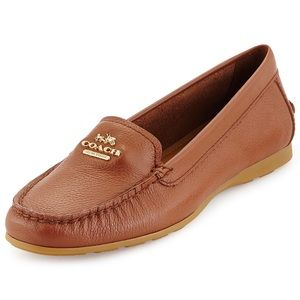 Coach Opal Pebbled Leather Tan Loafer 8.5 B